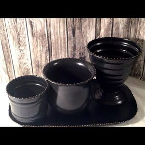 Gorgeous New 4 piece metal vases/matching tray